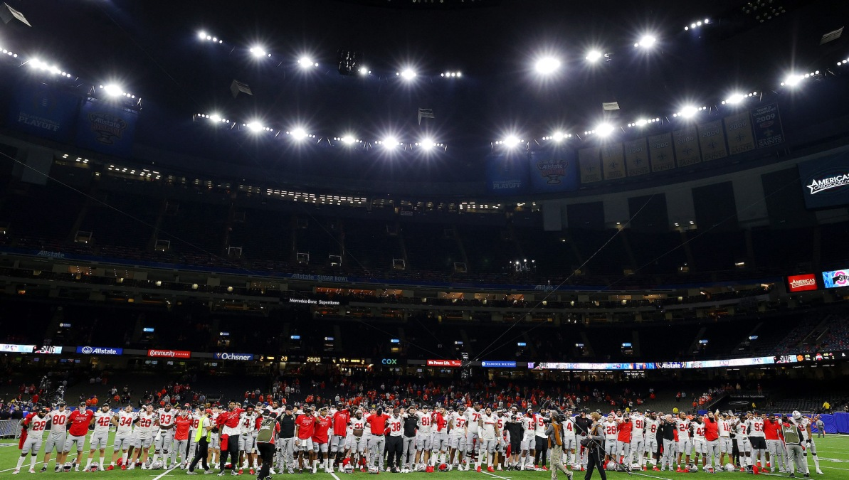 NEW ORLEANS, LOUISIANA - JANUARY 01: The Ohio State Buckeyes celebrate after defeating the Clemson Tigers 49-28 during the College Football Playoff semifinal game at the Allstate Sugar Bowl at Mercedes-Benz Superdome on January 01, 2021 in New Orleans, Louisiana. (Photo by Kevin C. Cox/Getty Images)