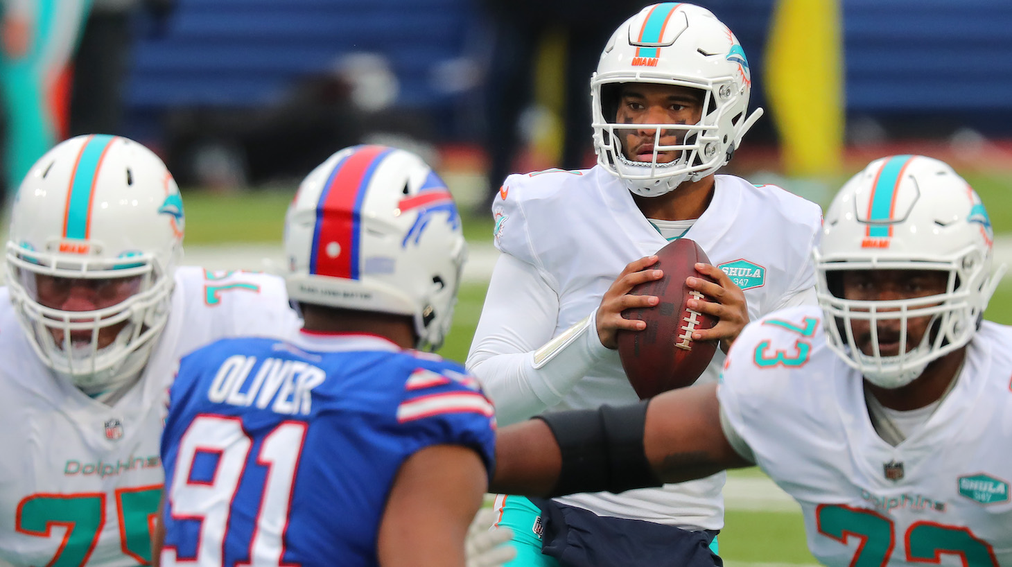 ORCHARD PARK, NEW YORK - JANUARY 03: Tua Tagovailoa #1 of the Miami Dolphins looks to pass against the Buffalo Bills during the first quarter at Bills Stadium on January 03, 2021 in Orchard Park, New York. (Photo by Timothy T Ludwig/Getty Images)