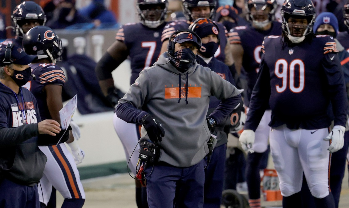 CHICAGO, ILLINOIS - JANUARY 03: Head coach Matt Nagy of the Chicago Bears looks on from the sidelines against the Green Bay Packers during the first quarter in the game at Soldier Field on January 03, 2021 in Chicago, Illinois. (Photo by Jonathan Daniel/Getty Images)