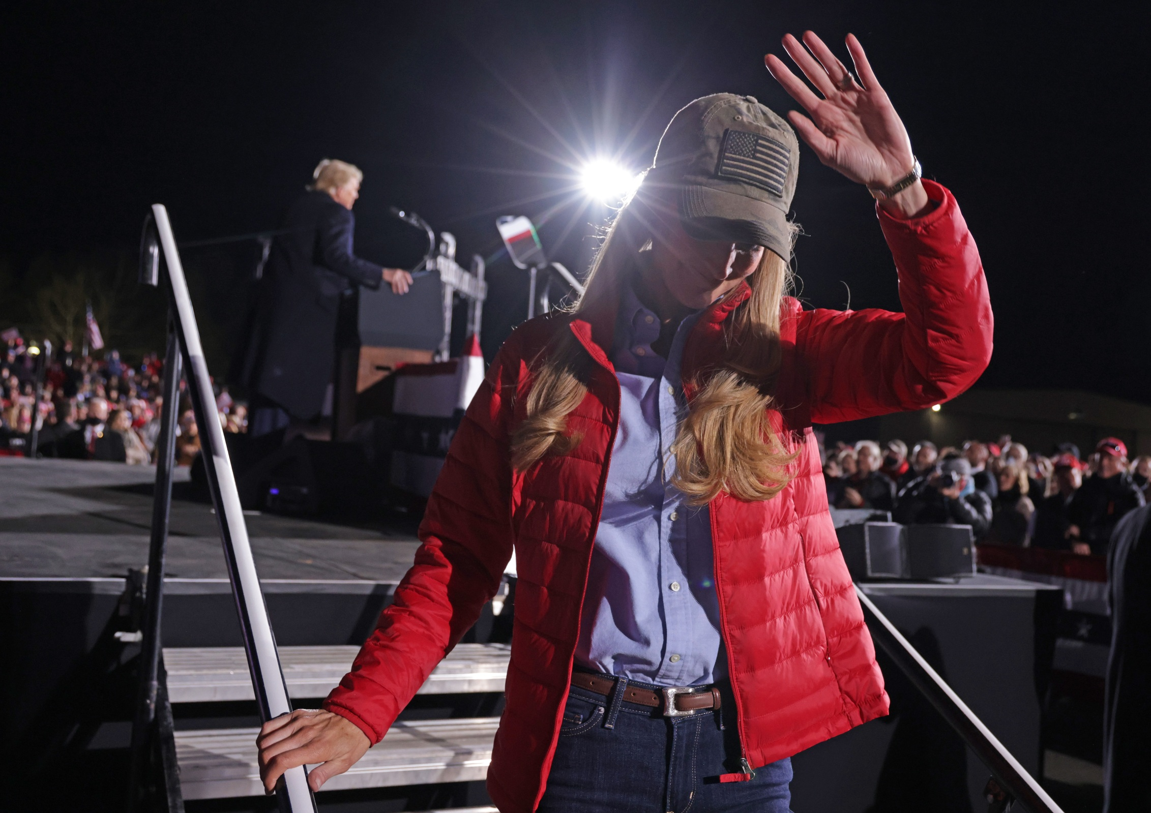U.S. Sen. Kelly Loeffler (R-GA) steps off the stage after she spoke during a Republican National Committee Victory Rally at Dalton Regional Airport January 4, 2021 in Dalton, Georgia. President Trump campaigned for the two incumbents, Sen. David Perdue (R-GA) and Sen. Kelly Loeffler (R-GA), for runoff elections in Georgia.