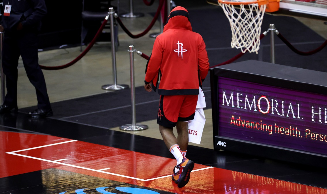 HOUSTON, TEXAS - JANUARY 10: James Harden #13 of the Houston Rockets leaves the court following the 120 -102 loss to the Los Angeles Lakers at Toyota Center on January 10, 2021 in Houston, Texas. NOTE TO USER: User expressly acknowledges and agrees that, by downloading and or using this photograph, User is consenting to the terms and conditions of the Getty Images License Agreement. (Photo by Carmen Mandato/Getty Images)