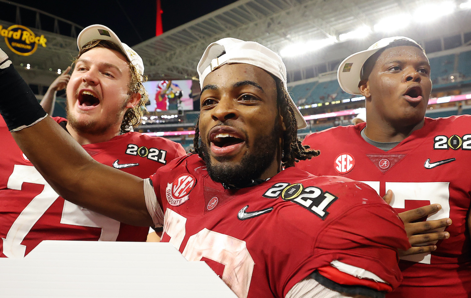 MIAMI GARDENS, FLORIDA - JANUARY 11: Najee Harris #22 of the Alabama Crimson Tide celebrates following the College Football Playoff National Championship game win over the Ohio State Buckeyes at Hard Rock Stadium on January 11, 2021 in Miami Gardens, Florida. (Photo by Kevin C. Cox/Getty Images)