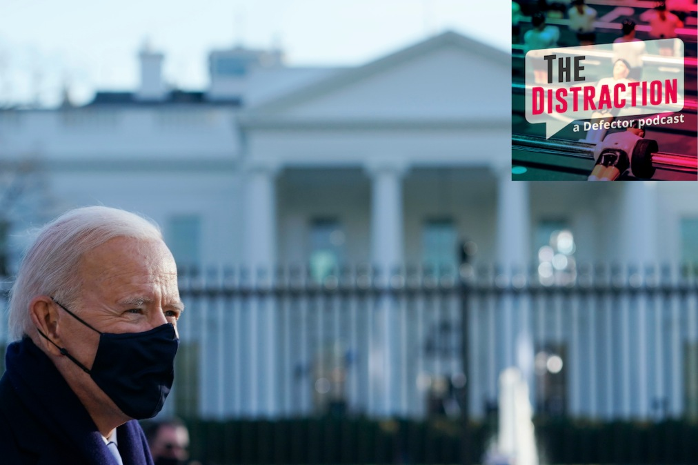 Joe Biden photographed outside the White House, which he is now inside.