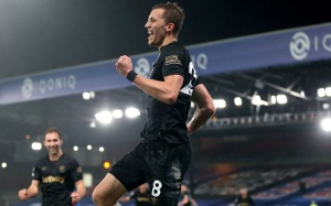 Tomas Soucek of West Ham United celebrates after scoring their team's second goal during the Premier League match between Crystal Palace and West Ham United at Selhurst Park on January 26, 2021 in London, England. Sporting stadiums around the UK remain under strict restrictions due to the Coronavirus Pandemic as Government social distancing laws prohibit fans inside venues resulting in games being played behind closed doors.