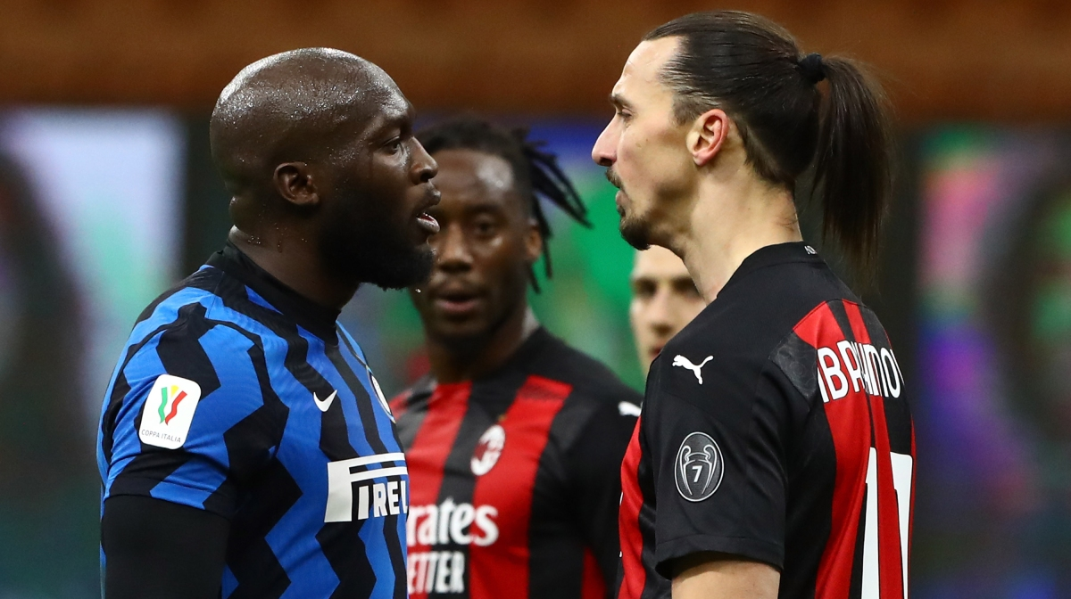 Zlatan Ibrahimovic (R) of AC Milan disputes with Romelu Lukaku (L) of FC Internazionale during the Coppa Italia match between FC Internazionale and AC Milan at Stadio Giuseppe Meazza on January 26, 2021 in Milan, Italy.