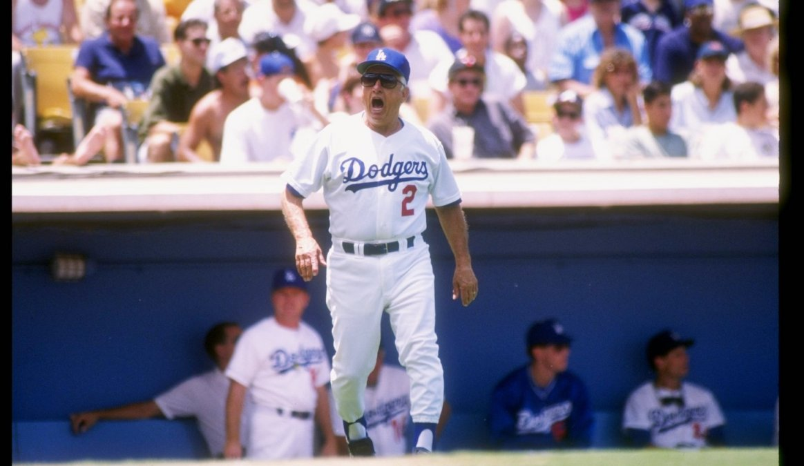 7 Jul 1991: Los Angeles Dodgers manager Tommy Lasorda yells during a game against the Atlanta Braves at Dodger Stadium in Los Angeles, California. Mandatory Credit: