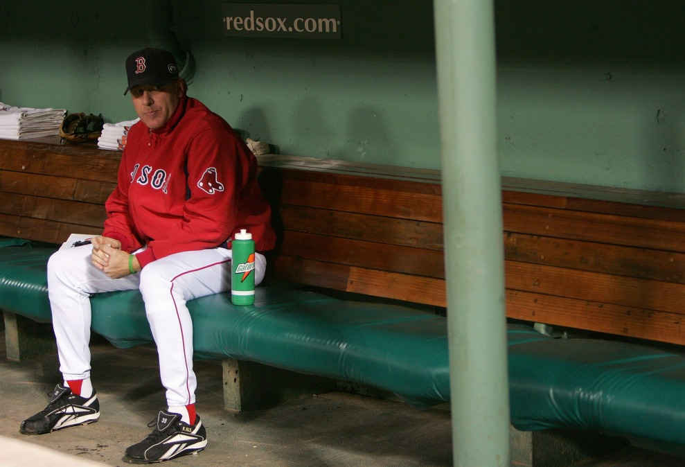 Curt Schilling sitting in the dugout while with the Red Sox, thinking about how much everyone else sucks.