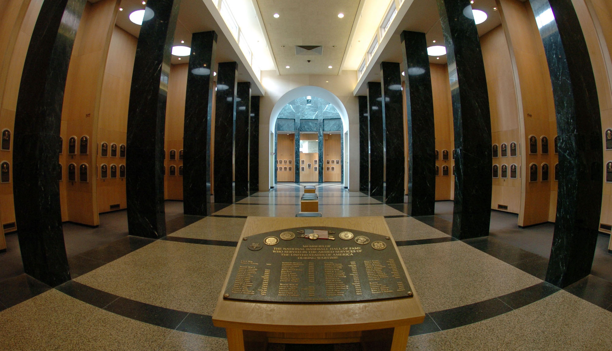 Plaques in the main hallway identify inductee classes in the Baseball Hall of Fame and Museum July 25, 2004 in Cooperstown, New York. (Photo by A. Messerschmidt/Getty Images) *** Local Caption ***