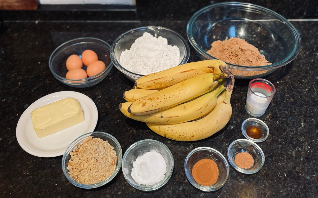 Banana bread ingredients on a countertop
