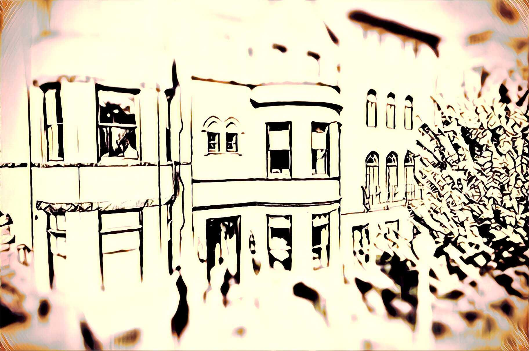 overexposed image of a townhouse