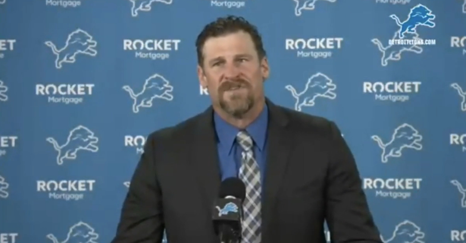 Dan Campbell, new head coach of the Detroit Lions, speaks at a presser.