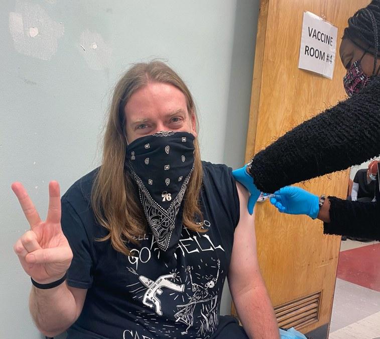 The writer, Dan McQuade, receiving his coronavirus vaccine.
