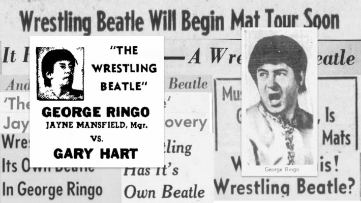 A collage of newspaper headlines about George Ringo, the Wrestling Beatle. Overlaid with them is a photo of George Ringo from the Los Angeles Times, and another of a poster from an advertisement that says George Ringo, with Jayne Mansfield, manager, vs. Gary Hart