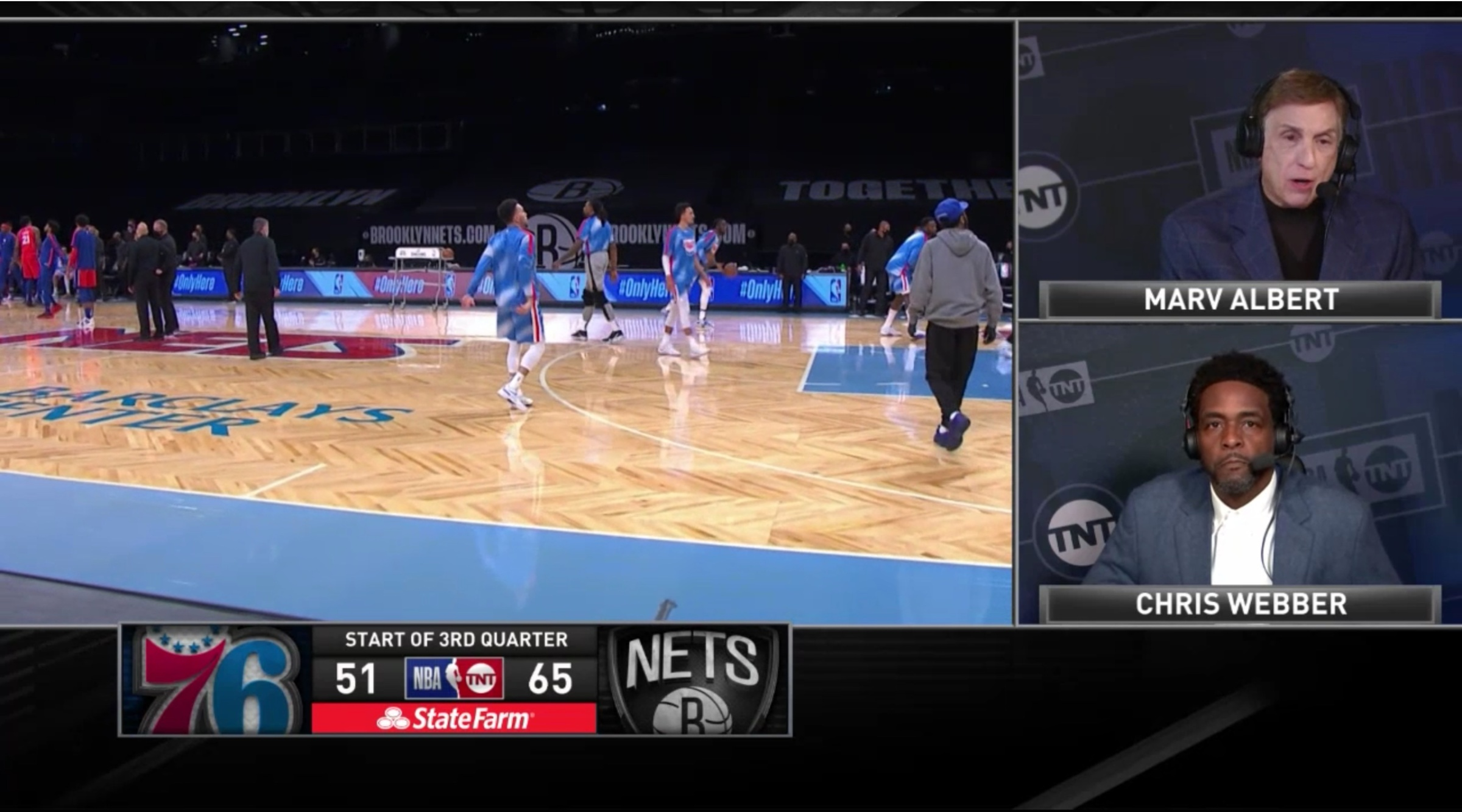 Marv Albert and Chris Webber at halftime during the Jan. 7 Sixers-Nets game on TNT
