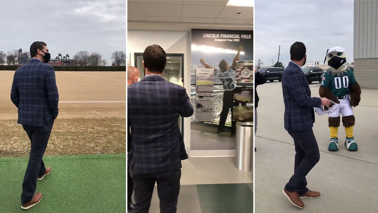 Three screenshots of Nick Sirianni: Him looking out onto a football field, him looking at a photo fo Sylvester Stallone in an Eagles jersey, and him looking at Swoop, Eagles mascot