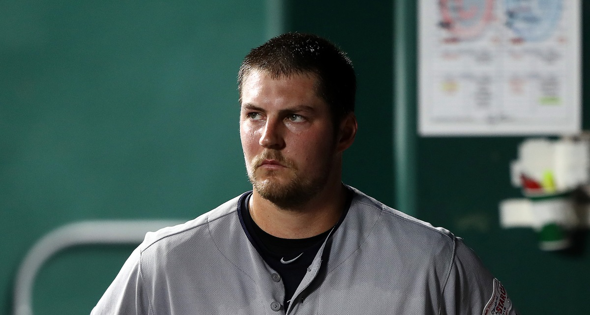 KANSAS CITY, MISSOURI - JULY 02: Starting pitcher Trevor Bauer #47 of the Cleveland Indians watches from the dugout after leaving the game during the 7th inning of the game against the Kansas City Royals at Kauffman Stadium on July 02, 2019 in Kansas City, Missouri. (Photo by Jamie Squire/Getty Images)