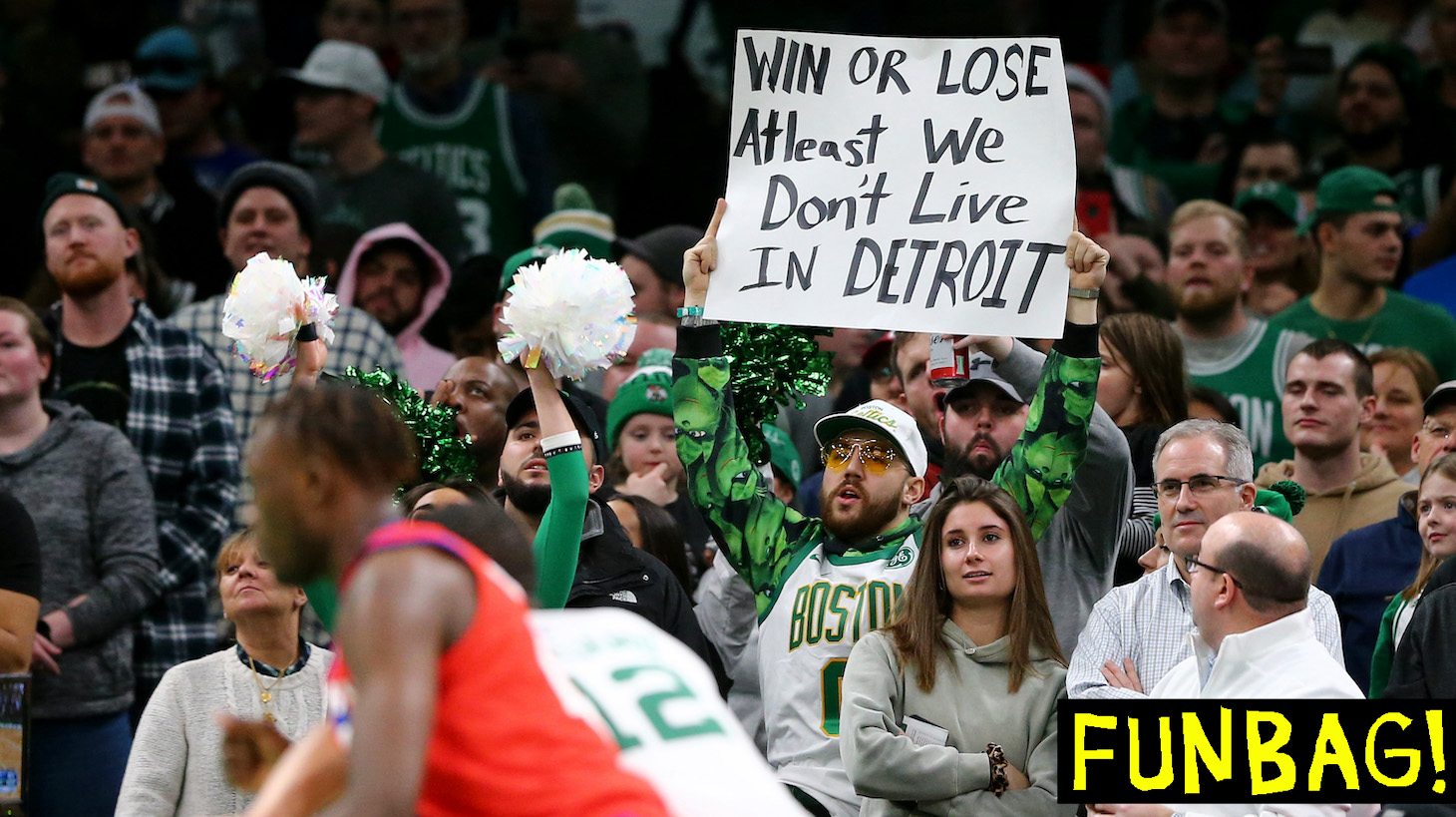 BOSTON, MASSACHUSETTS - DECEMBER 20: A Boston Celtics fan holds a sign during the game against the Detroit Pistons at TD Garden on December 20, 2019 in Boston, Massachusetts. The Celtics defeat the Pistons 114-93. NOTE TO USER: User expressly acknowledges and agrees that, by downloading and or using this photograph, User is consenting to the terms and conditions of the Getty Images License Agreement. (Photo by Maddie Meyer/Getty Images)