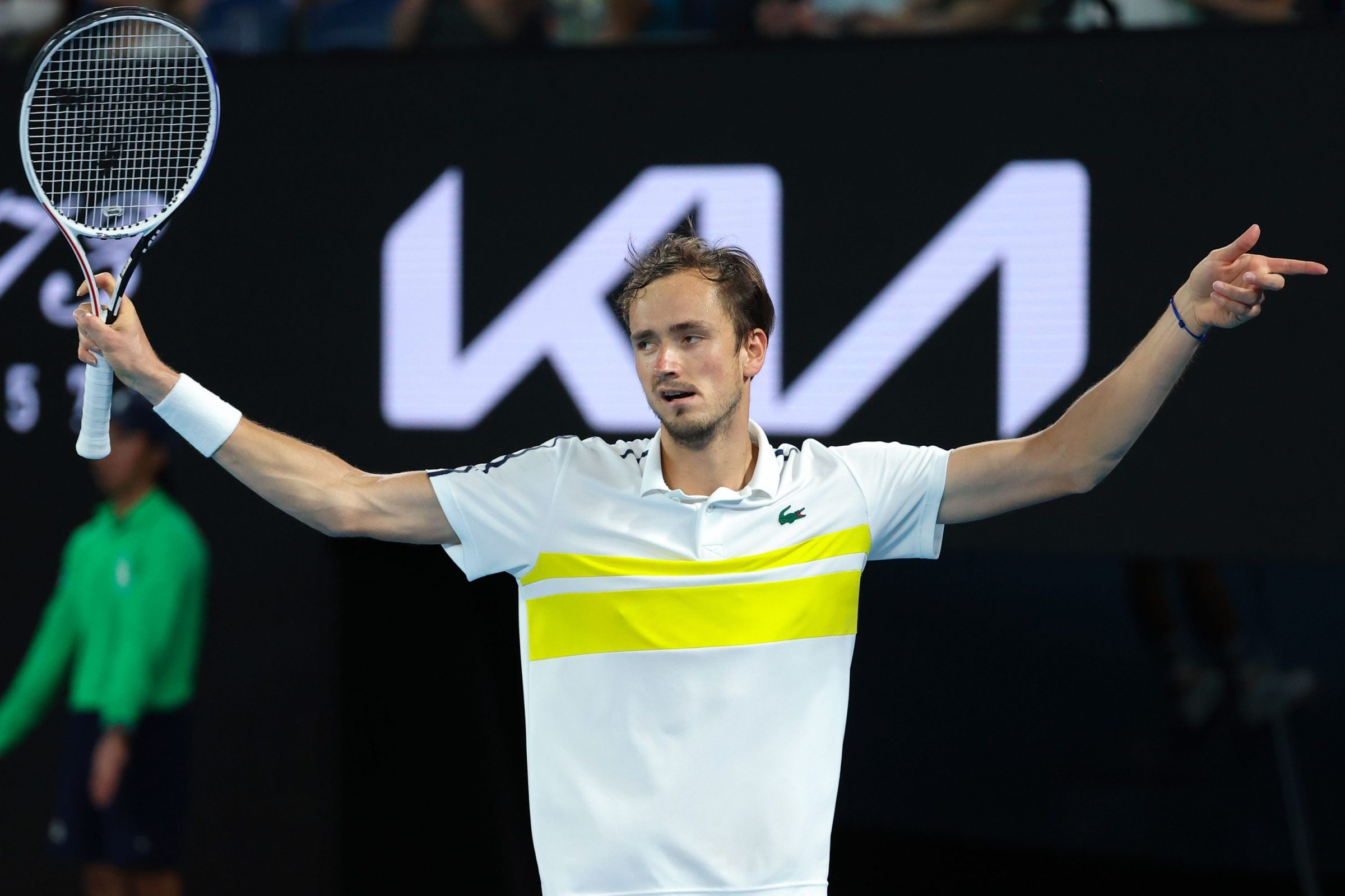 Russia's Daniil Medvedev reacts as he plays against Greece's Stefanos Tsitsipas during their men's singles semi-final match on day twelve of the Australian Open tennis tournament in Melbourne on February 19, 2021.