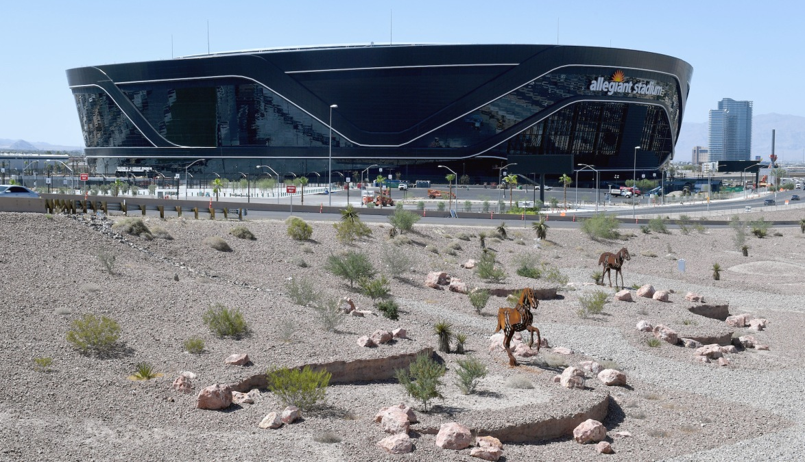 LAS VEGAS, NEVADA - JULY 01: Construction continues at Allegiant Stadium, the USD 2 billion, glass-domed future home of the Las Vegas Raiders on July 1, 2020 in Las Vegas, Nevada. The Raiders and the UNLV Rebels football teams are scheduled to begin play at the 65,000-seat facility in their 2020 seasons. (Photo by Ethan Miller/Getty Images)