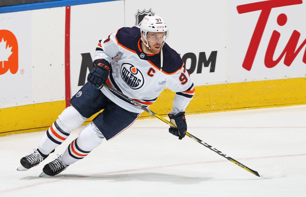 Connor McDavid #97 of the Edmonton Oilers warms up