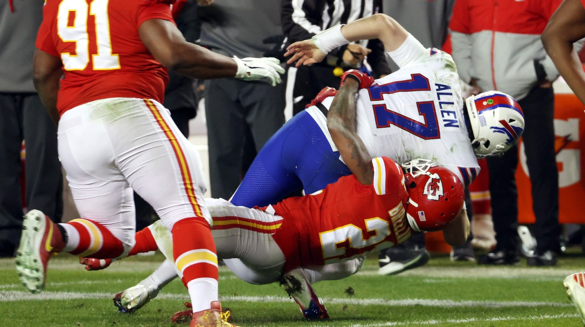 KANSAS CITY, MISSOURI - JANUARY 24: Josh Allen #17 of the Buffalo Bills is tackled by Bashaud Breeland #21 of the Kansas City Chiefs in the third quarter during the AFC Championship game at Arrowhead Stadium on January 24, 2021 in Kansas City, Missouri. (Photo by Jamie Squire/Getty Images)
