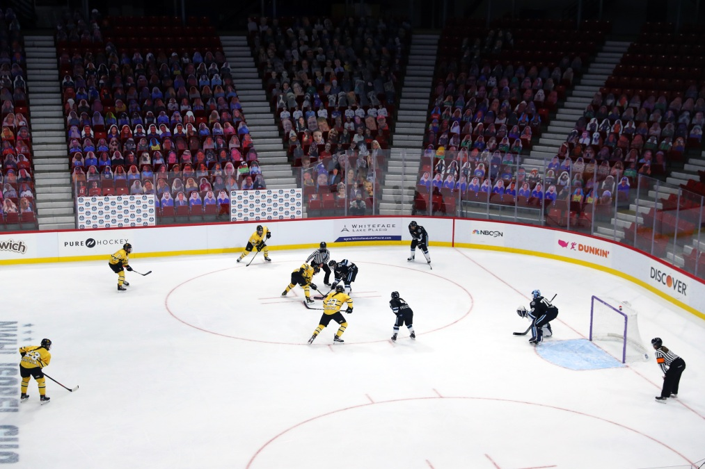 A general view of a face off during the first period of the Isobel Cup Game between the Buffalo Beauts and the Boston Pride at Herb Brooks Arena on February 01, 2021 in Lake Placid, New York.