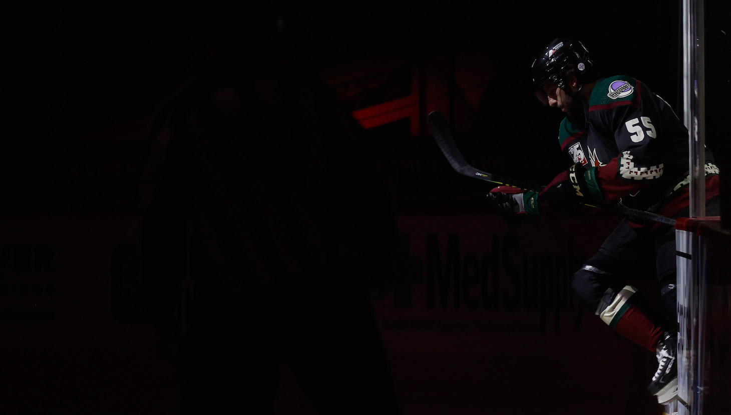 GLENDALE, ARIZONA - FEBRUARY 15: Jason Demers #55 of the Arizona Coyotes skates onto the ice before the start of the NHL game against the St. Louis Blues at Gila River Arena on February 15, 2021 in Glendale, Arizona. (Photo by Christian Petersen/Getty Images)