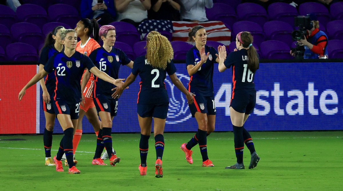 ORLANDO, FLORIDA - FEBRUARY 24: Carli Lloyd #10 of the United States celebrates a goal during a match against Argentina in the SheBelieves Cup at Exploria Stadium on February 24, 2021 in Orlando, Florida. (Photo by Mike Ehrmann/Getty Images)
