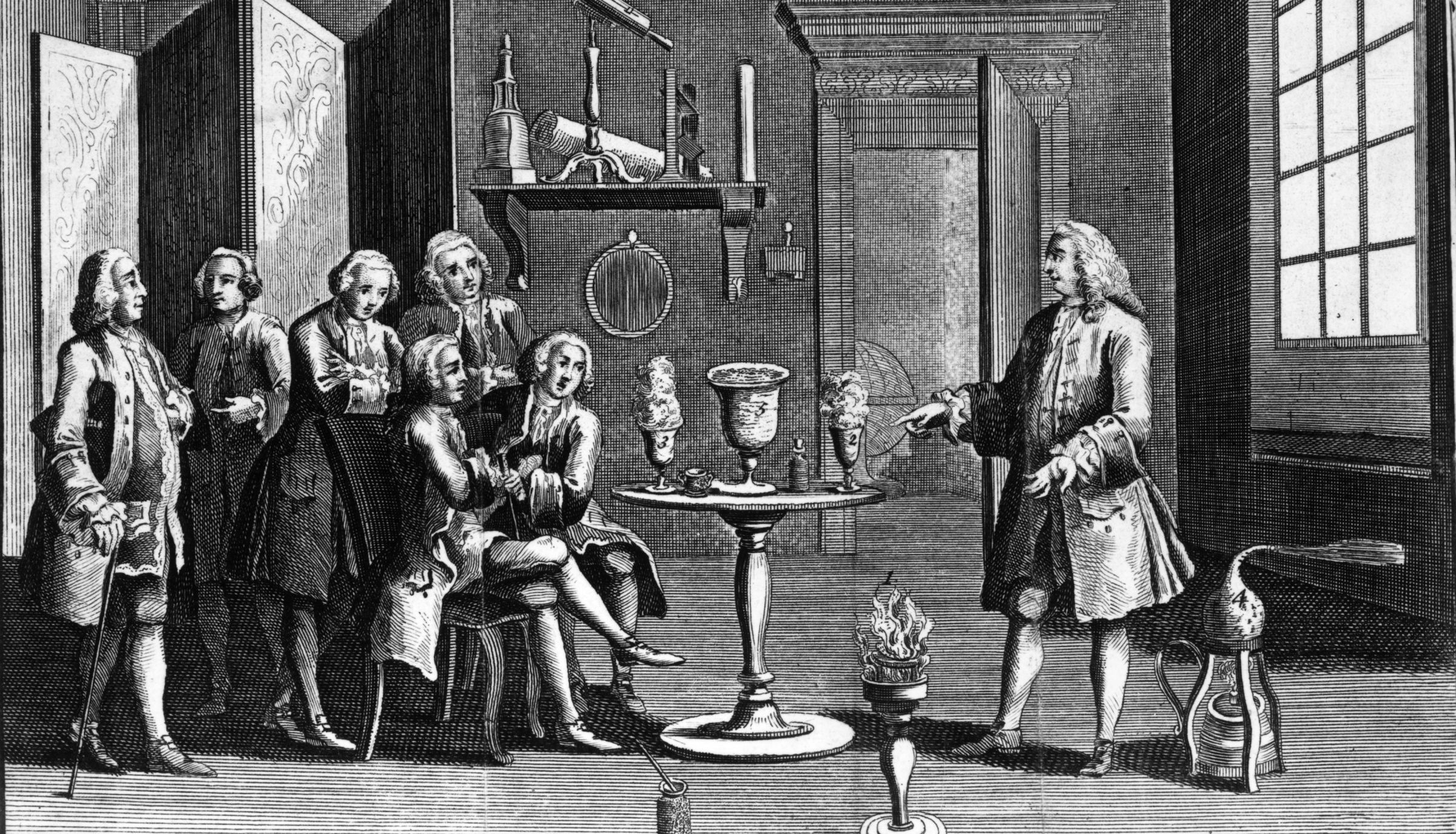1748, A scientist demonstrates an electrical experiment at a meeting of a scientific society in London. (Photo by MPI/Getty Images)