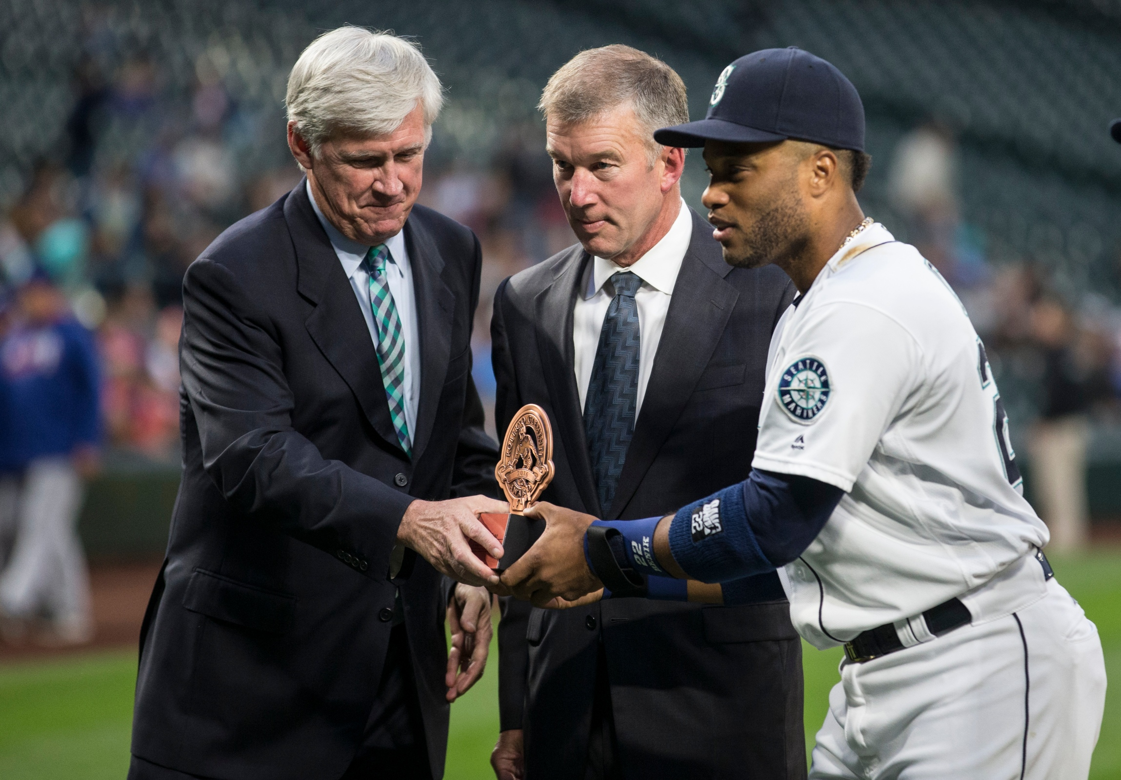 Former Mariners CEO Kevin Mather with owner John Stanton and Robinson Cano