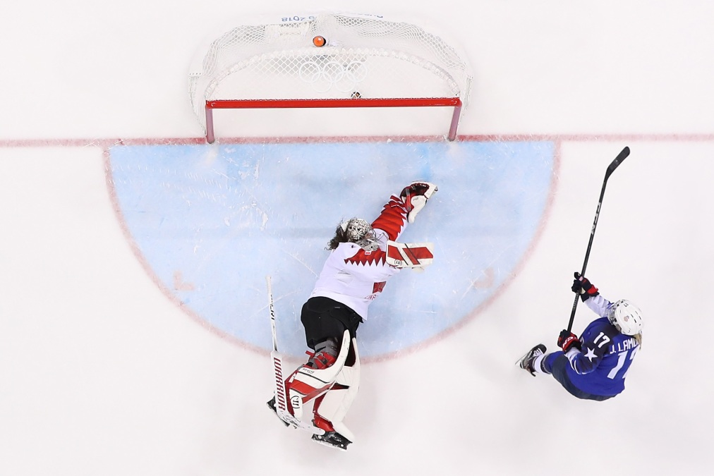 Jocelyne Lamoureux #17 of the United States scores a goal against Shannon Szabados #1 of Canada in a shootout to win the Women's Gold Medal Game on day thirteen of the PyeongChang 2018 Winter Olympic Games at Gangneung Hockey Centre on February 22, 2018 in Gangneung, South Korea.