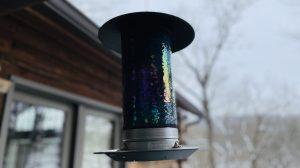 A pretty glass bird feeder