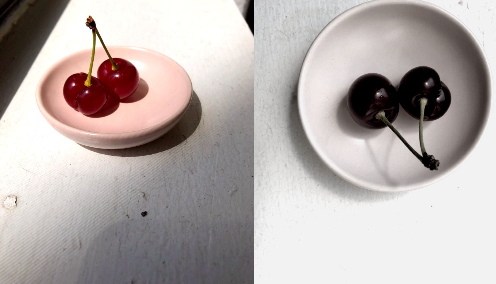 two images of cherries on a small plate: one in color and one desaturated