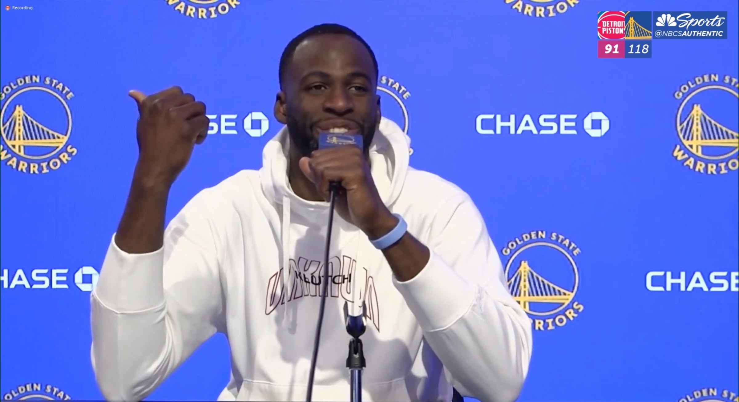 Draymond Green in his postgame press conference after the Warriors beat the Pistons 118-91 on Saturday, January 30.