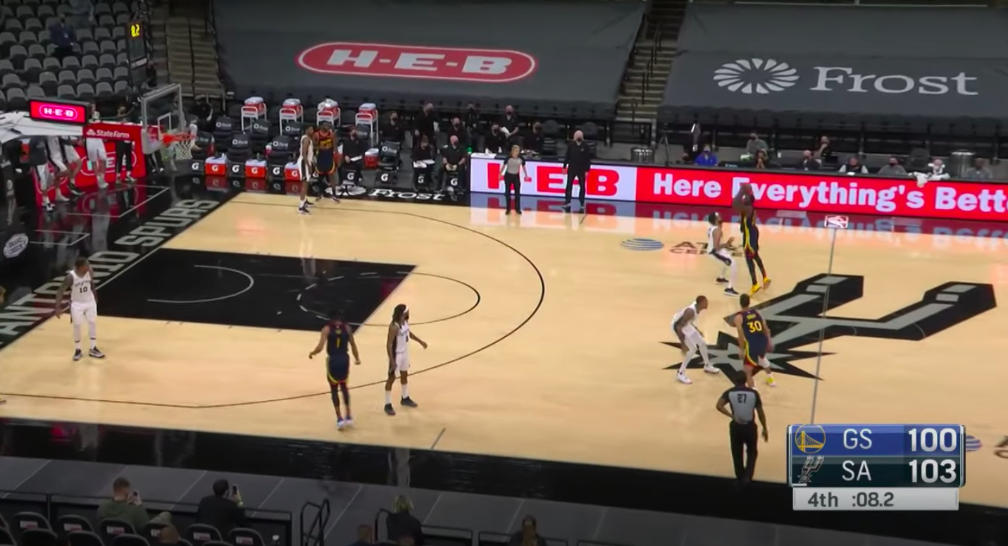 Draymond Green takes a bad halfcourt shot against the Spurs Monday night.