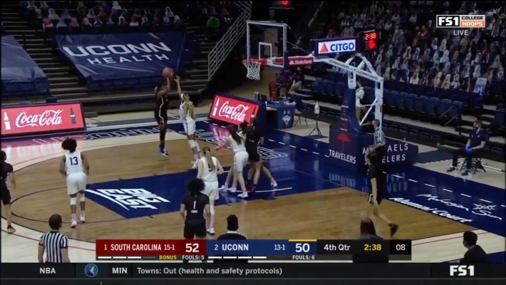 Aliyah Boston shoots over Aaliyah Edwards in South Carolina's game against UConn