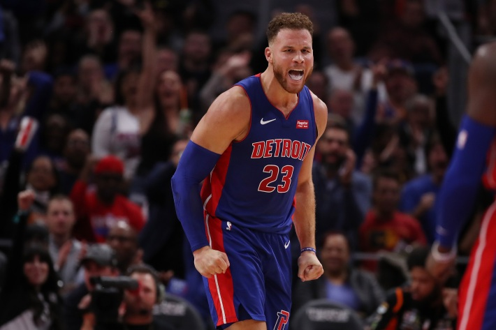 Blake Griffin #23 of the Detroit Pistons reacts to a fourth quarter play while playing the Brooklyn Nets during the home opener at Little Caesars Arena on October 17, 2018 in Detroit, Michigan.