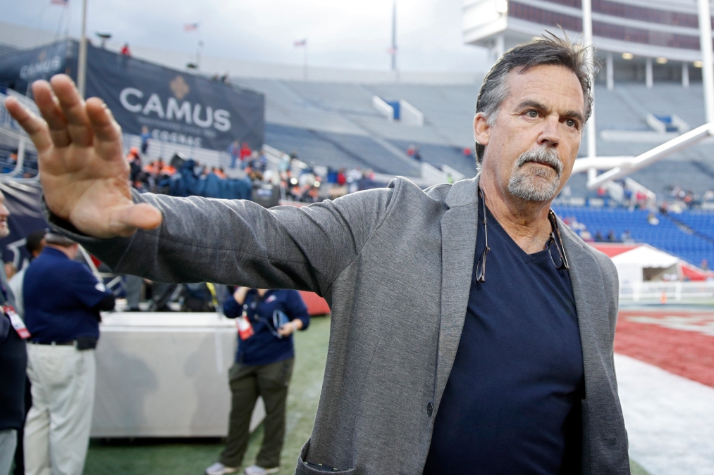 Jeff Fisher seen here after coaching an AAF game. That was like two years ago somehow.