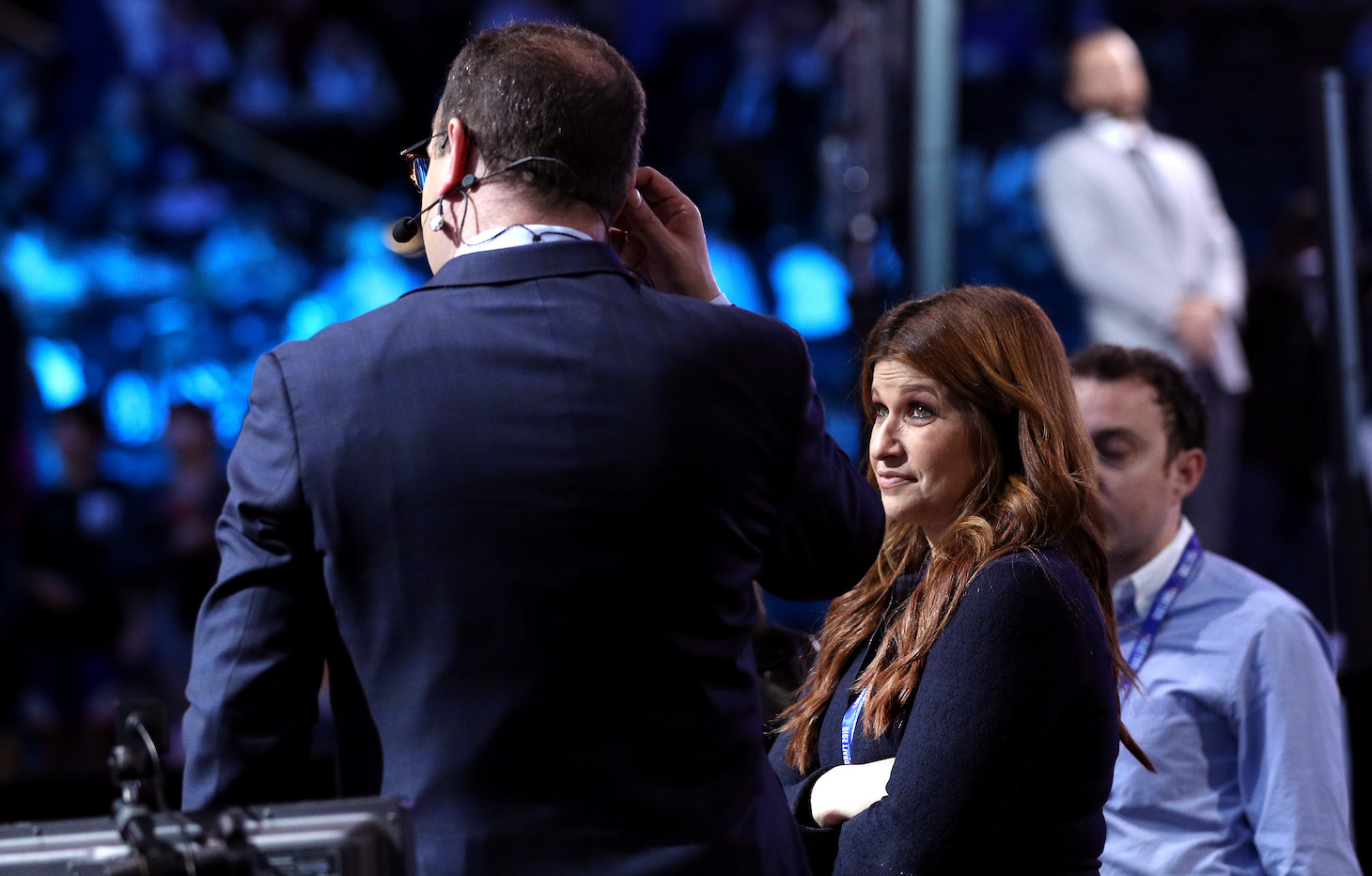 NEW YORK, NEW YORK - JUNE 20: Reporters Rachel Nichols and Adrian Wojnarowski speak before the start of the 2019 NBA Draft at the Barclays Center on June 20, 2019 in the Brooklyn borough of New York City. NOTE TO USER: User expressly acknowledges and agrees that, by downloading and or using this photograph, User is consenting to the terms and conditions of the Getty Images License Agreement. (Photo by Mike Lawrie/Getty Images)