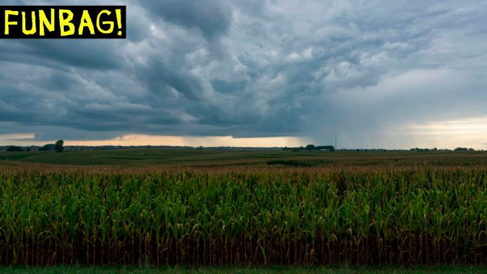 A rain storm is seen over a corn field in Oskaloosa, Iowa on August 15, 2019. (Photo by Alex Edelman / AFP) (Photo credit should read ALEX EDELMAN/AFP via Getty Images)