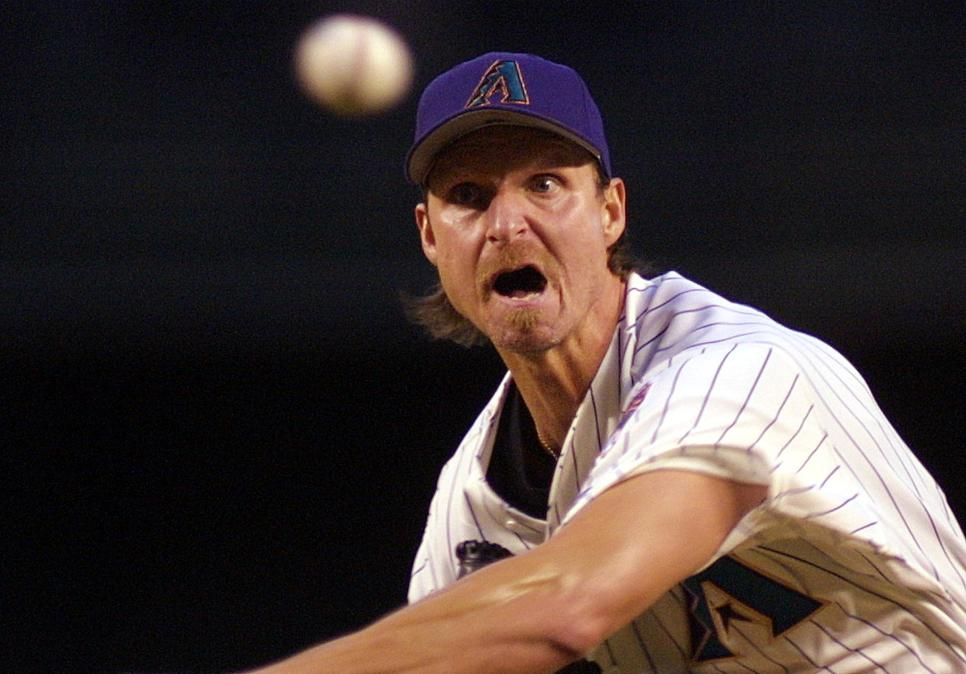 Arizona Diamondbacks starter Randy Johnson pitches against the Florida Marlins during the second inning 23 April 2001 in Phoenix. AFP Photo/Mike FIALA (Photo by Mike FIALA / AFP) (Photo by MIKE FIALA/AFP via Getty Images)