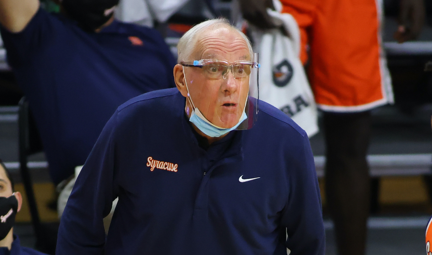 PISCATAWAY, NJ - DECEMBER 08: Head coach Jim Boeheim of the Syracuse Orange talks to Quincy Guerrier #1 during the second half of an NCAA basketball game against the Rutgers Scarlet Knights at Rutgers Athletic Center on December 8, 2020 in Piscataway, New Jersey. Rutgers defeated Syracuse 79-69. (Photo by Rich Schultz/Getty Images)