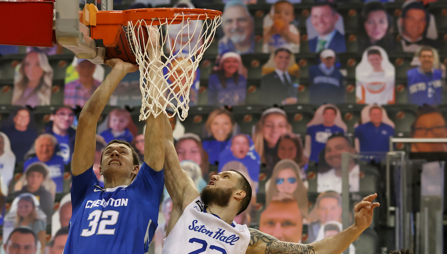 NEWARK, NJ - JANUARY 27: Sandro Mamukelashvili #23 of the Seton Hall Pirates blocks a shot by Ryan Kalkbrenner #32 of the Creighton Bluejays during the first half of an NCAA college basketball game at Prudential Center on January 27, 2021 in Newark, New Jersey. (Photo by Rich Schultz/Getty Images)