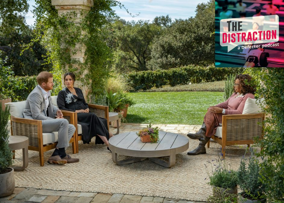 Oprah Winfrey interviews Prince Harry and Meghan Markle in a very nice garden setting.
