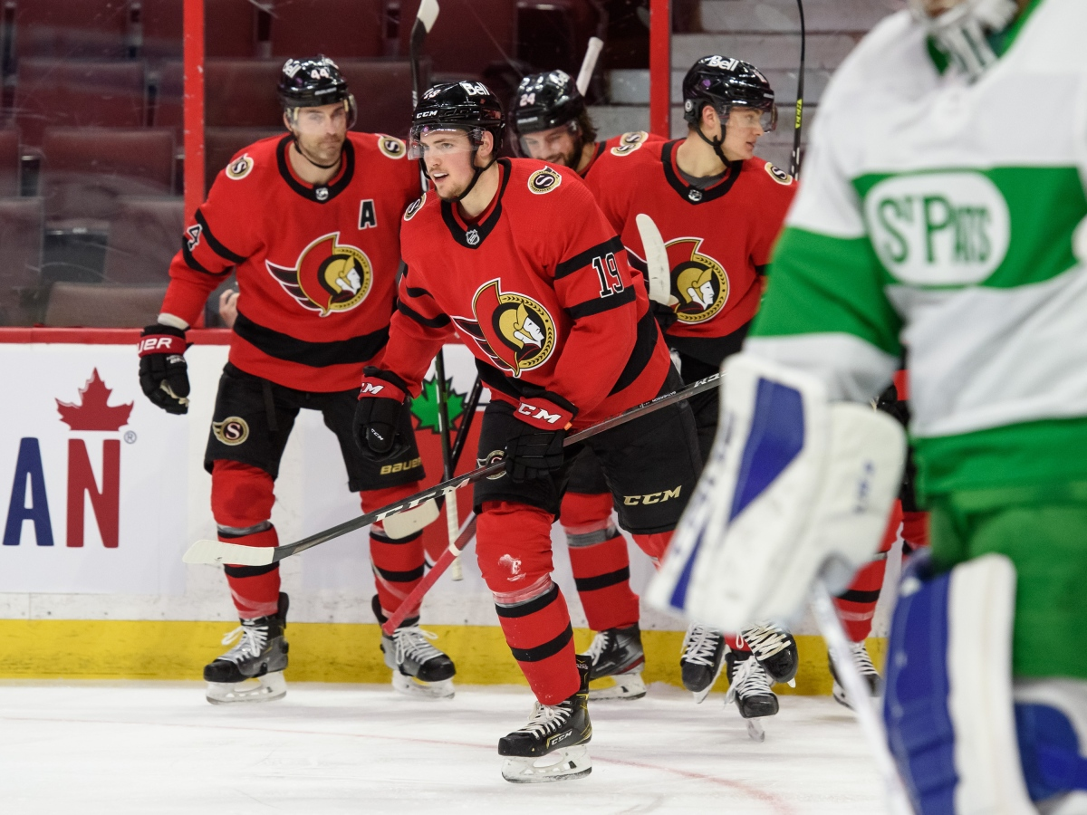 Drake Batherson #19 of the Ottawa Senators skates to the bench after scoring a second period goal against the Toronto Maple Leafs at Canadian Tire Centre on March 14, 2021 in Ottawa, Ontario, Canada.