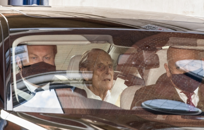 Britain's Prince Philip, Duke of Edinburgh leaves King Edward VII's Hospital in central London on March 16, 2021.