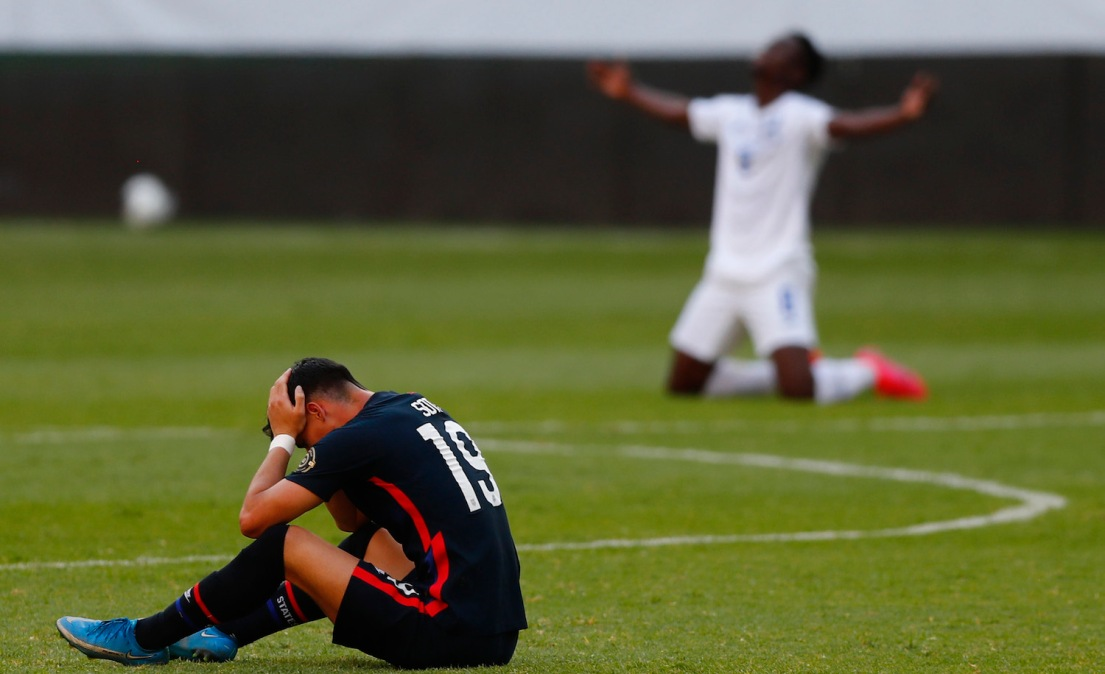 GUADALAJARA, MEXICO - MARCH 28: Sebastian Soto #19 of United States reacts after losing the semifinals match between Honduras and USA as part of the 2020 Concacaf Men's Olympic Qualifying at Jalisco Stadium on March 28, 2021 in Guadalajara, Mexico. (Photo by Refugio Ruiz/Getty Images)