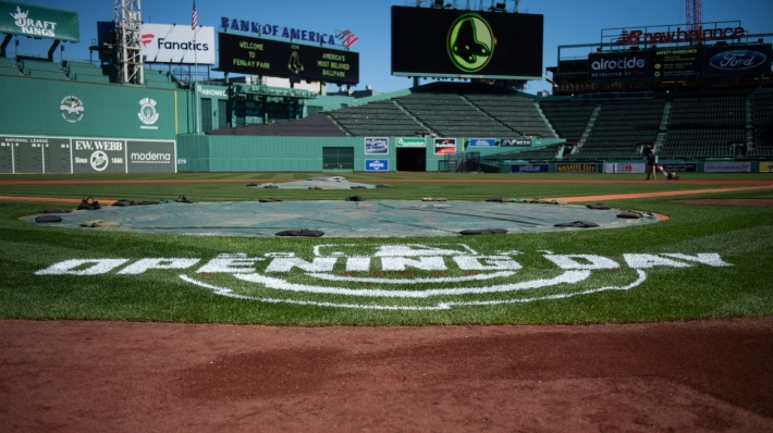 BOSTON, MA - MARCH 30: The Opening Day stencil is seen behind home plate during a media availability at Fenway Park on March 30, 2021 in Boston, Massachusetts. (Photo by Kathryn Riley/Getty Images)