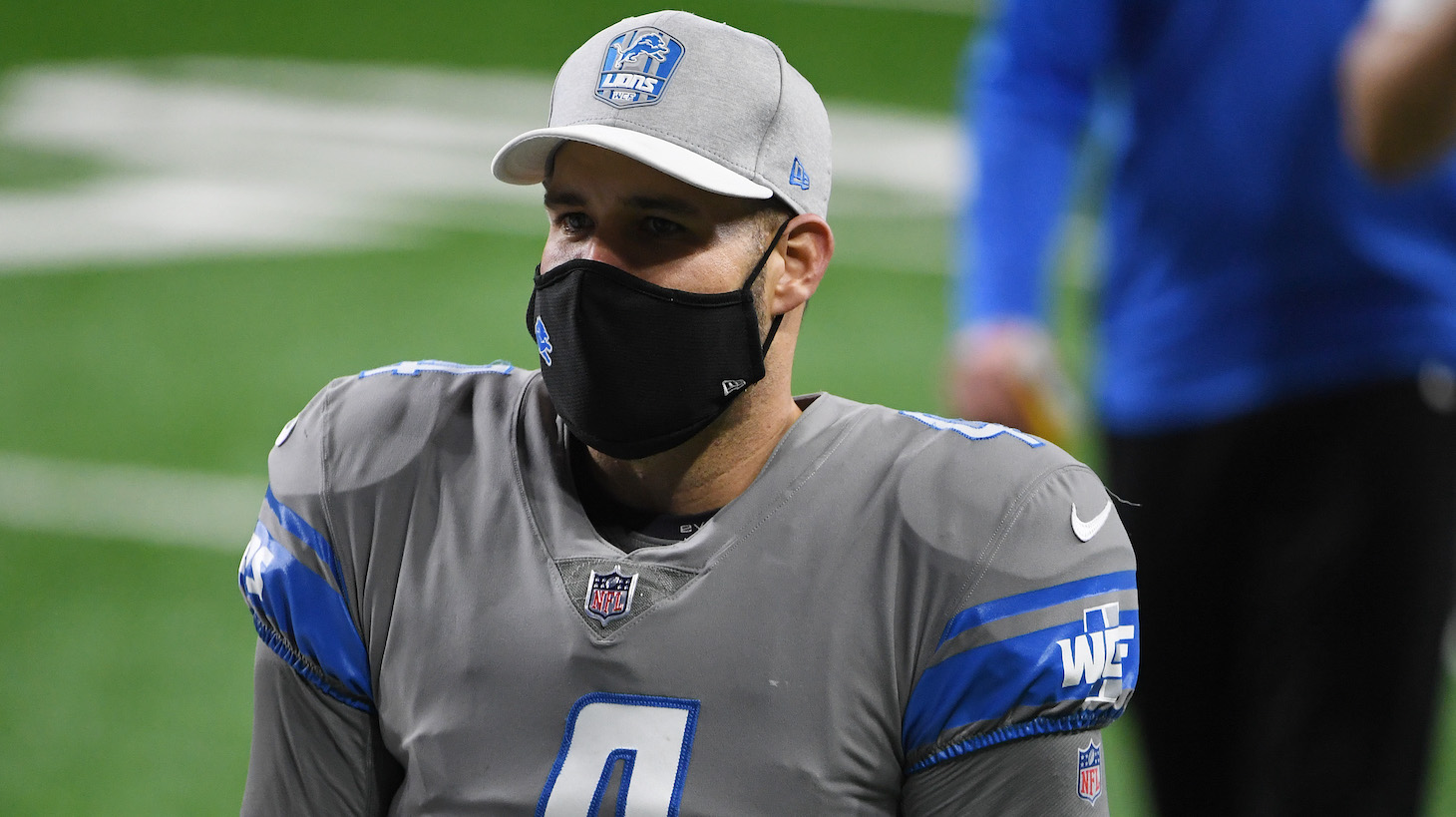 DETROIT, MICHIGAN - DECEMBER 26: Chase Daniel #4 of the Detroit Lions heads off the field following a game against the Tampa Bay Buccaneers at Ford Field on December 26, 2020 in Detroit, Michigan. (Photo by Nic Antaya/Getty Images)
