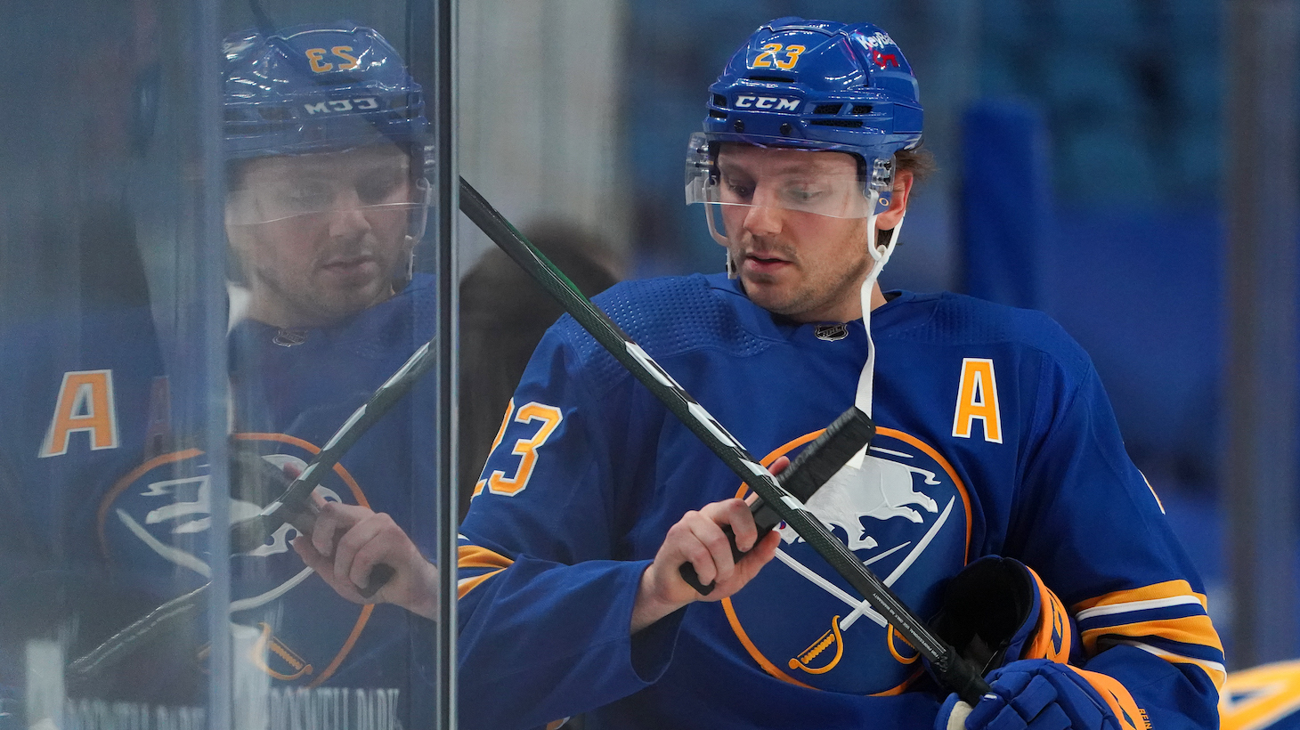 BUFFALO, NY - FEBRUARY 15: Sam Reinhart #23 of the Buffalo Sabres before the game against the New York Islanders at KeyBank Center on February 15, 2021 in Buffalo, New York. (Photo by Kevin Hoffman/Getty Images)